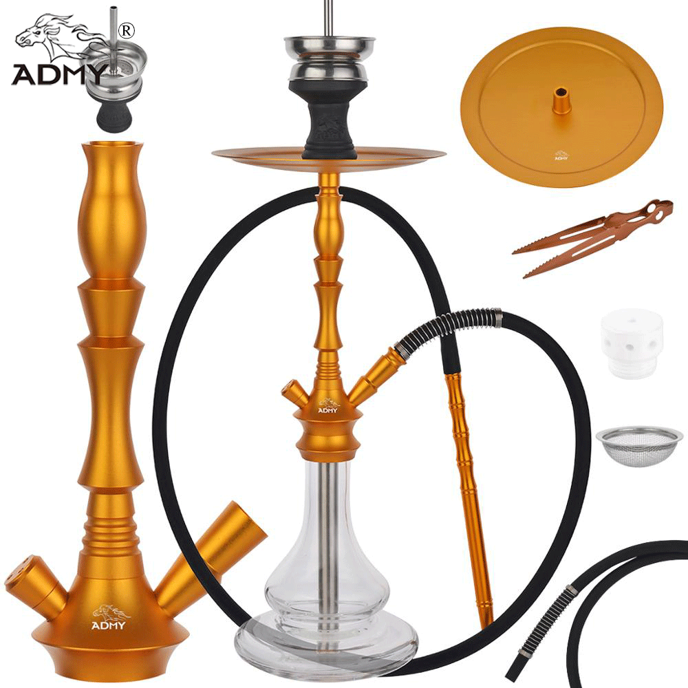 ADMY Aluminum Hookah Shisha Six Colors Narguile Nargile Smoking Water Pipe factory wholesale Backpack gift Included accessories Shisha Pipes & Accessories     - title=