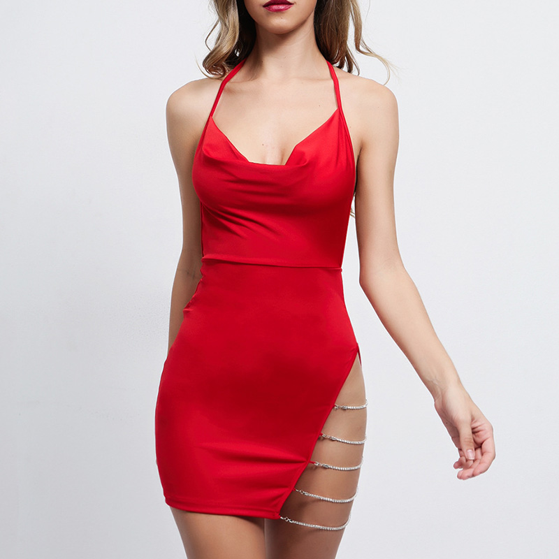 Sexy <font><b>Open</b></font> <font><b>Back</b></font> <font><b>Dress</b></font> Women Fashion Bow Tie Solid Color Split Openwork Tight Hip V-neck <font><b>Dress</b></font> Female Sleeveless Sexy <font><b>Dress</b></font> image