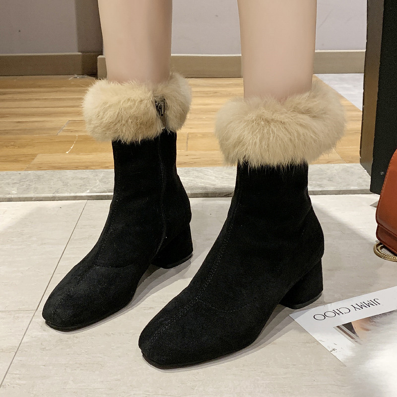 Winter Shoes Women Lace Up Bootee Woman 2019 High Heel Boots Luxury Designer Booties Ladies Plush Heels Fashion Rubber Chunky 35
