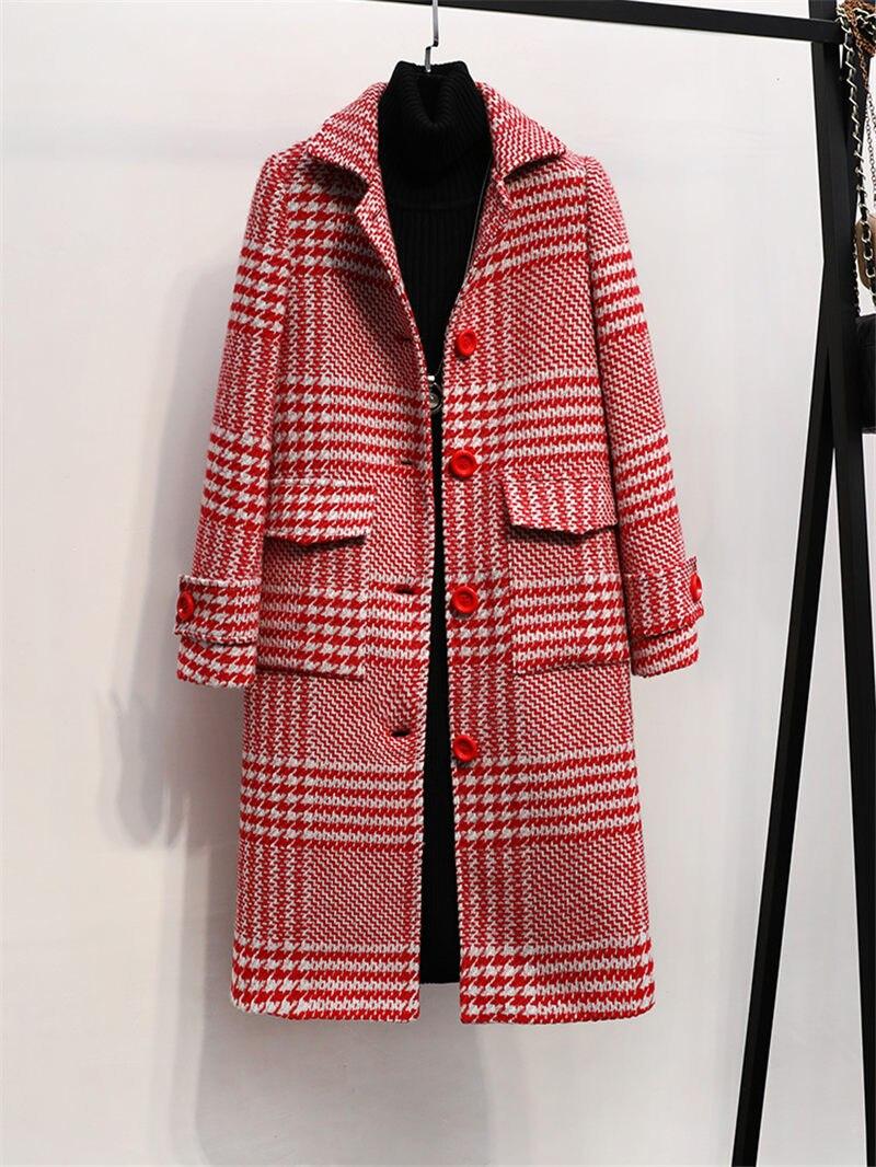 NEW Autumn Winter Woolen Coat For Women Large Size Houndstooth Woolen Coat Loose Fashion Vintage Temperament Tweed Jacket F2103