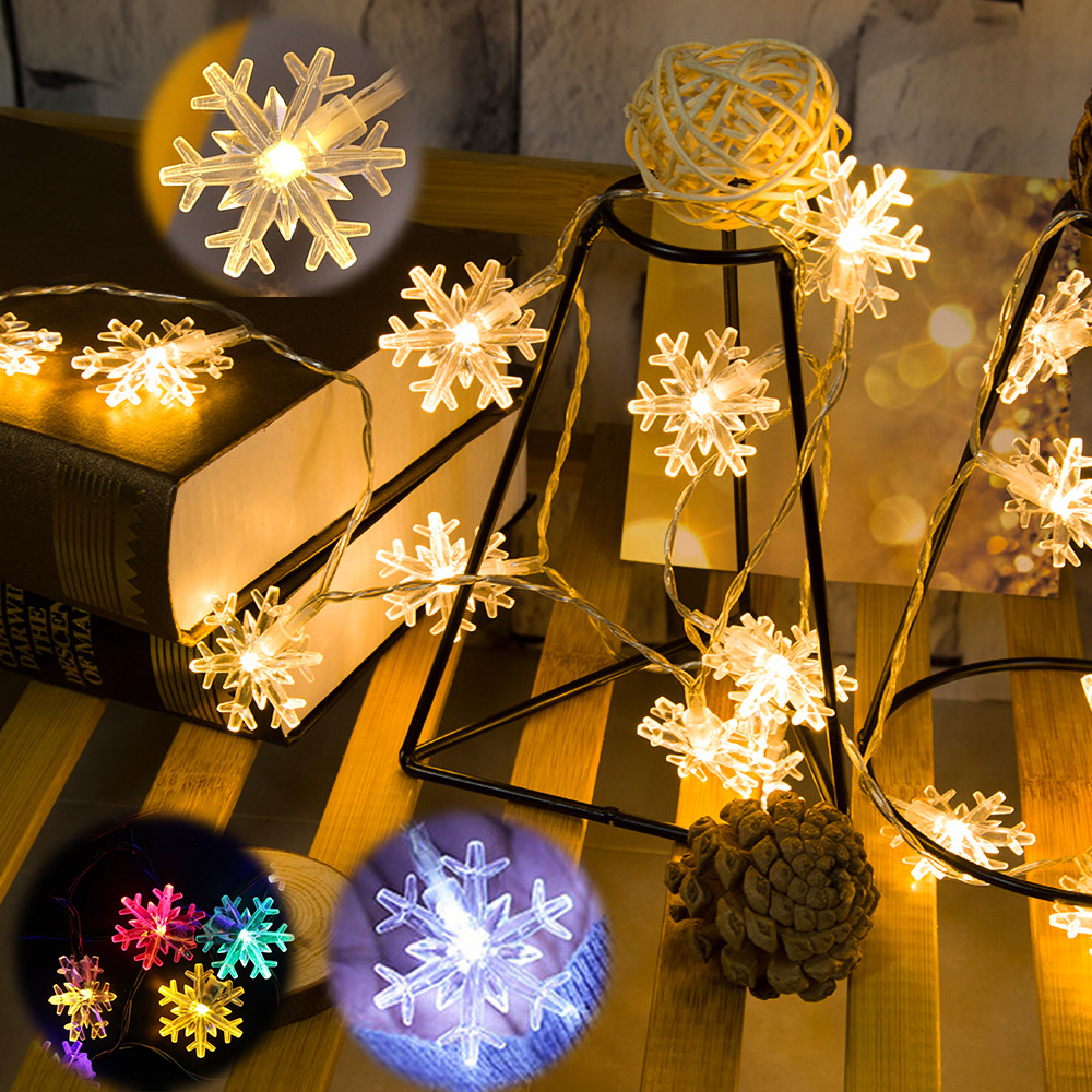 <font><b>10M</b></font> <font><b>100LED</b></font> <font><b>220V</b></font>&Battery Christmas Garland Snowflake lamp String Fairy Lights Outdoor For Xmas Wedding Party New Year's Decor image