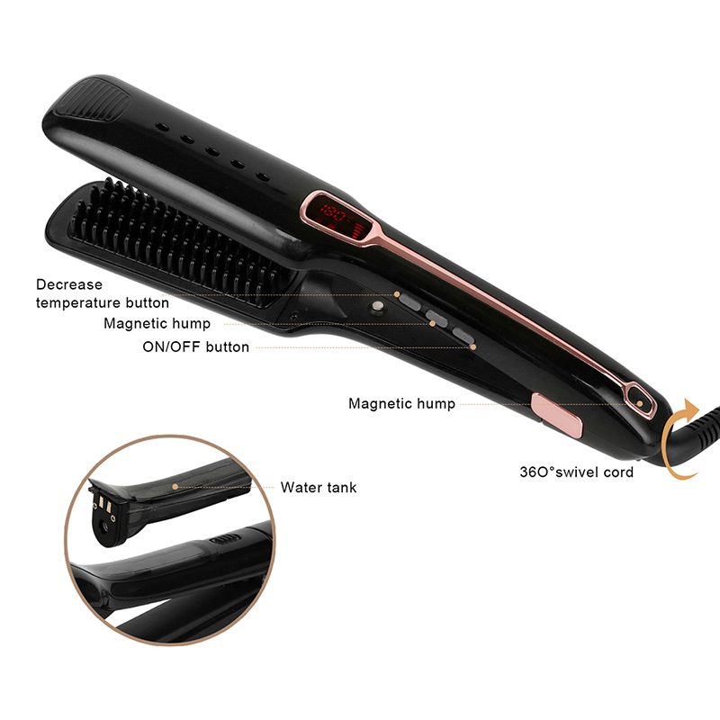 Steam Hair Straightener Professional Salon Steam Ionic with Infrared Flat Iron Ceramic Heating Comb and Natural Mane Hair Brush image