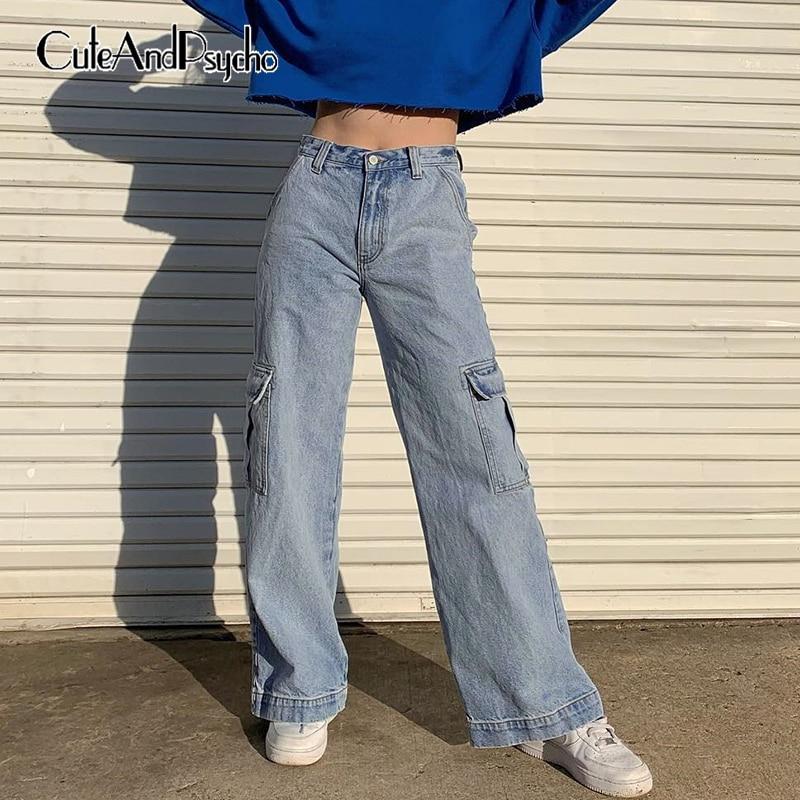 Big Pockets Straight Baggy Denim Jeans Women High Waist Pant Casual Loose Cargo Pant Long Trouser Femme Streetwear Cuteandpsycho