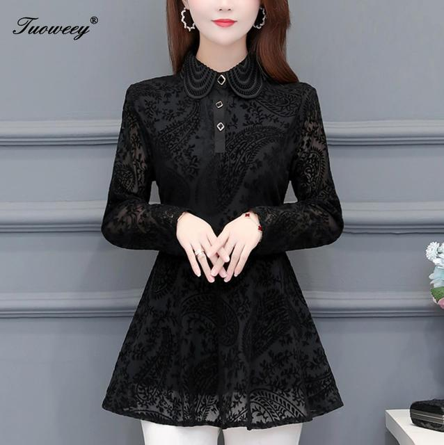 Hollow Out Lace Blouse Shirt Ladies 2020 Spring Summer Sexy stand collar Tops Casual Elegant black solid Blouses Plus Size 1
