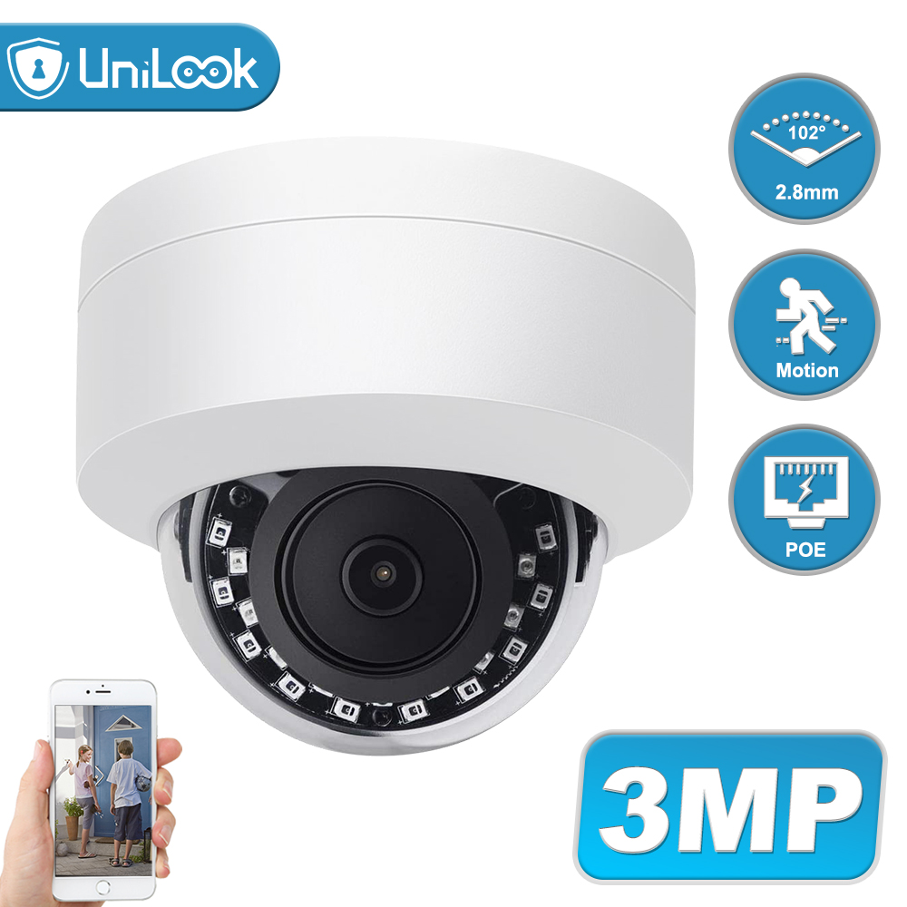 UniLook 3MP Dome POE IP Camera Outdoor Night Vision CCTV Security Camera IP66 H.265 Onvif Support Motion Detection