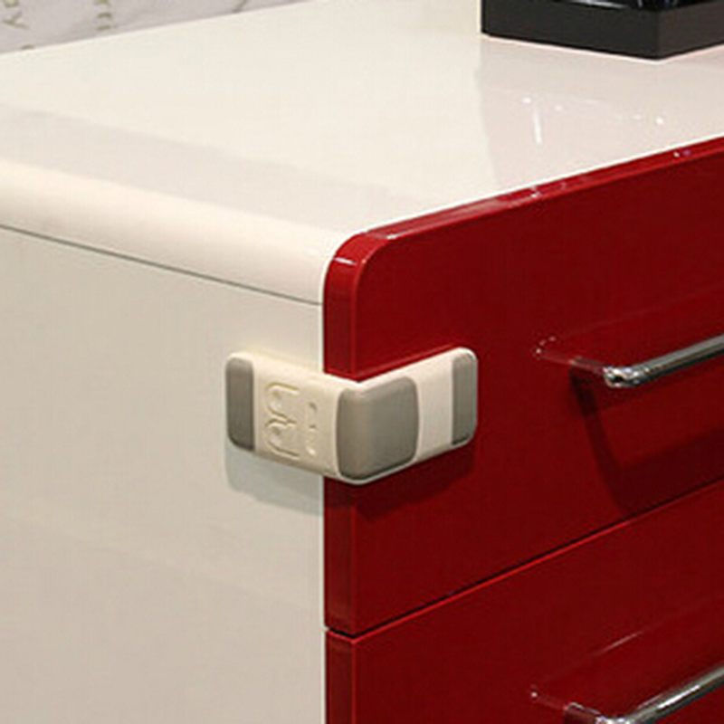 1Pcs Hot Safety Lock Protection From Children Infant Toddler Drawer Door Cabinet Cupboard Double Buckle Safety Lock Baby Kids