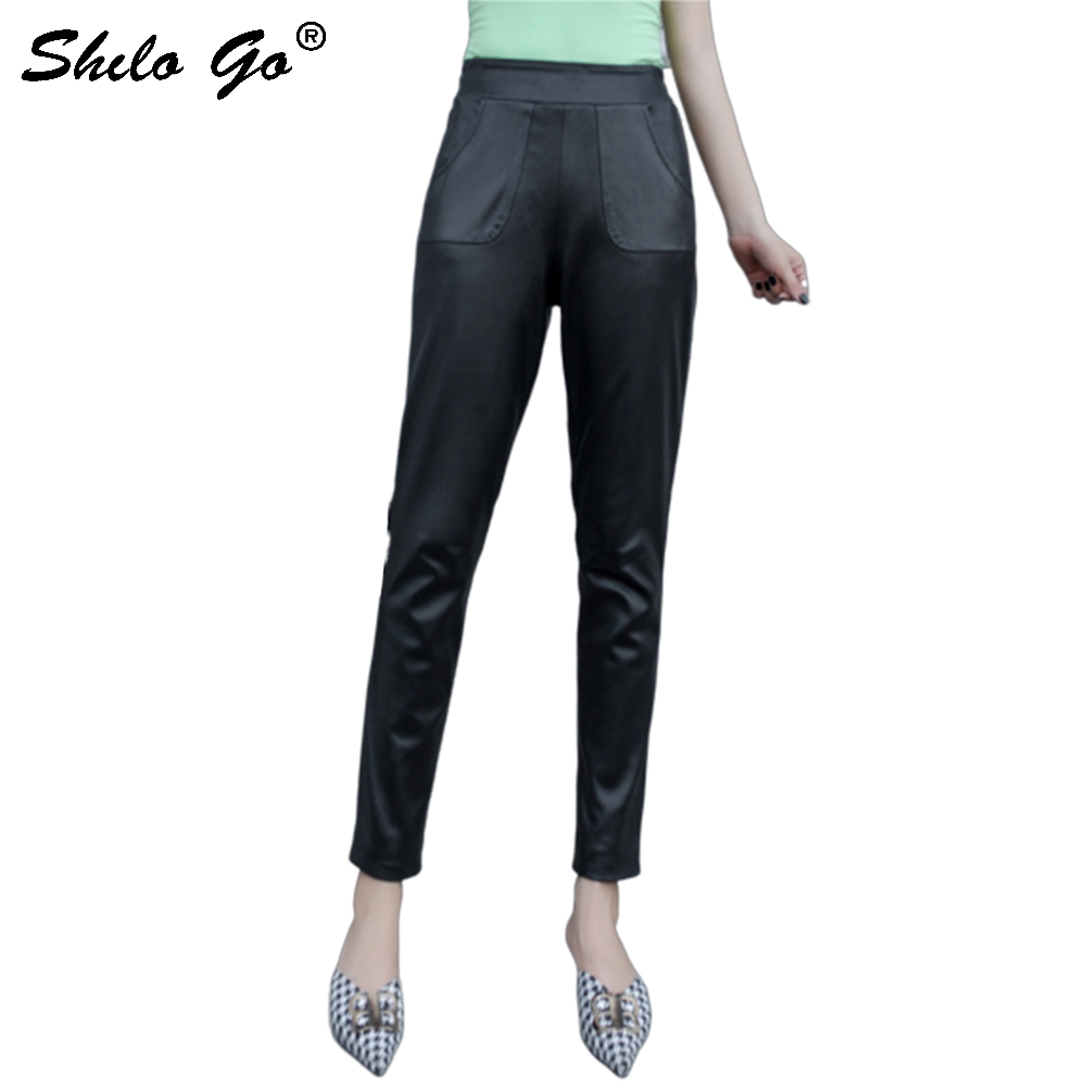 Genuine Leather Pants Black Minimalist Office Lady Elastic Waist Back Trousers Women Autumn Casual Pocket Front Pencil Pants