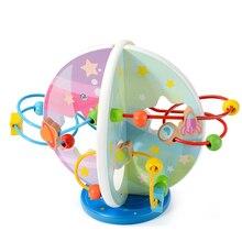 Di legno del Giocattolo di Matematica Conteggio Cerchi Bead Abacus Wire Maze Roller Coaster Montessori Educativi per I Bambini Del Bambino