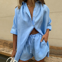 Summer Tracksuits Women 2021 Lounge Wear Shorts Set Short Sleeve Shirt Tops And Loose Mini Shorts Suit Two Piece Set Women Cloth