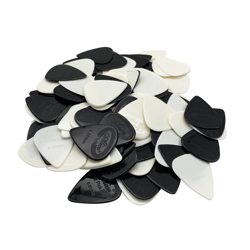 100 pcs Guitar Picks Acoustic Electric Guitarra Bass Nylon Mediator Plectrum Thickness 0.58 0.71 0.81 0.96 1.20 1.50 mm 2 Color image