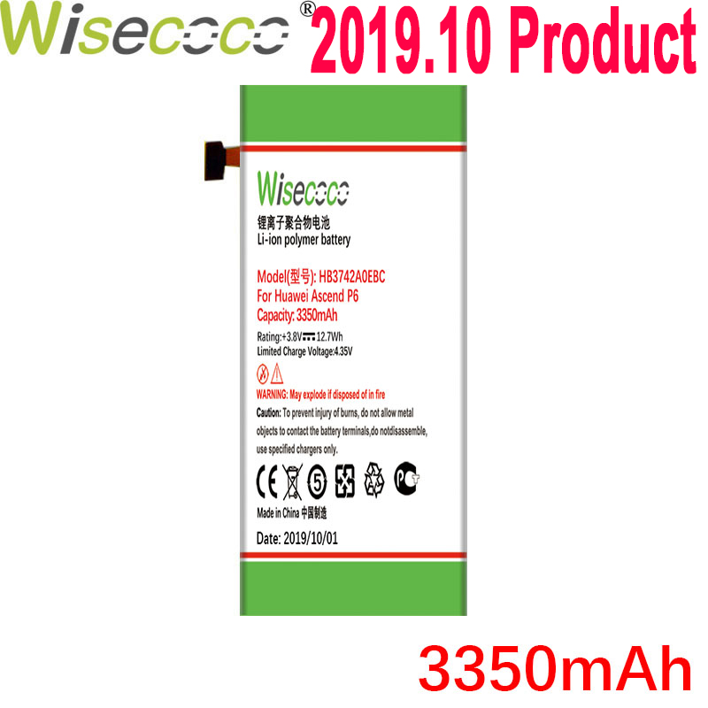 Wisecoco 3350mAh <font><b>HB3742A0EBC</b></font> <font><b>Battery</b></font> For <font><b>Huawei</b></font> Ascend P6 P6-U06 p6-c00 p6-T00/ Ascend G6 G620 G621 <font><b>G620s</b></font> G630 Phone New Produce image