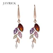 Rainbow Leaf Crystals Cubic Zirconia Hook Drop Earrings Women Fashion Jewelry Dangle Earring Ear Gift