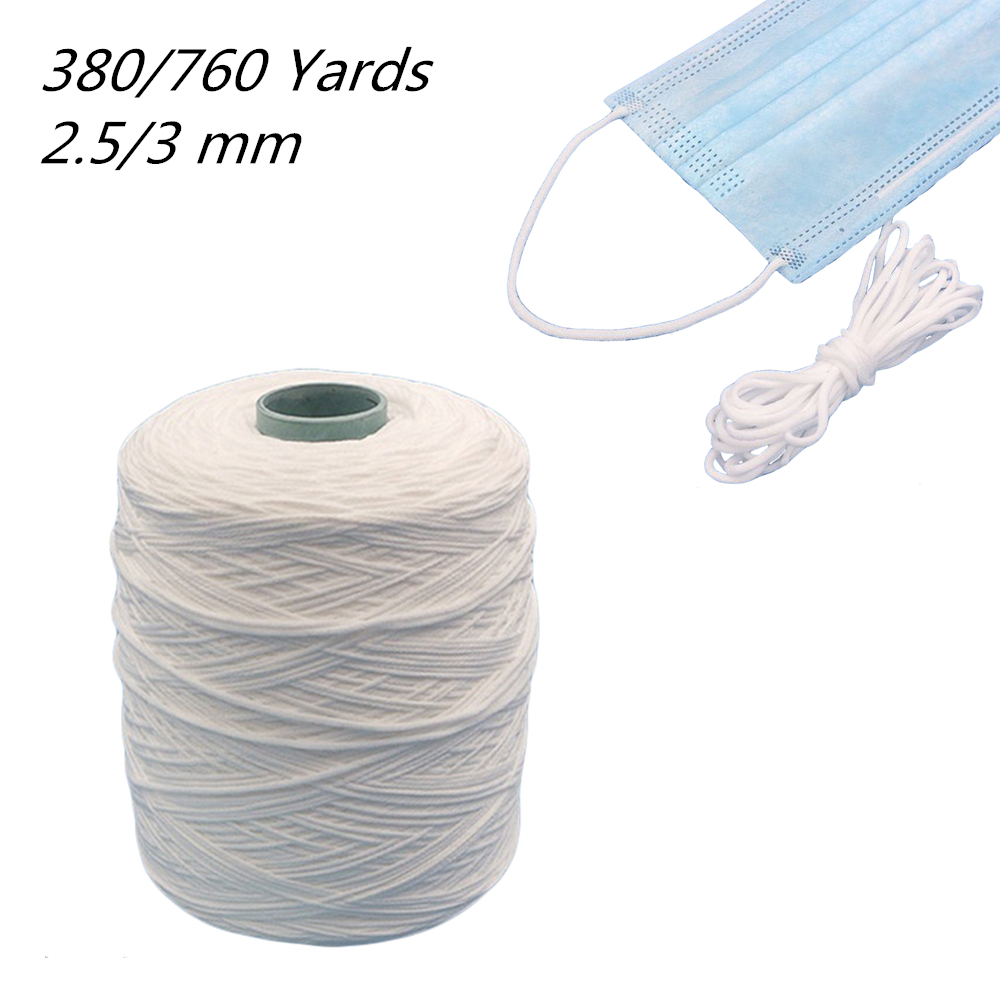 380Yard 3mm Mouth Mask Elastic Band Mask Rope Rubber Band String Mask Ear Cord Round Elastic Band DIY Clothing Craft Accessories