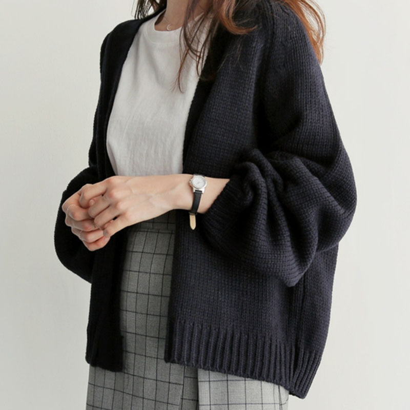Cardigan 2020 Women's Sweater Autumn And Winter New Korean Loose Lazy Oaf Solid Color Black Short Knitwear Jumper Woman Clothes