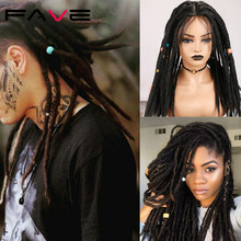 Fave Lace Front Dreadlocks Braided Hand Tied slit Black Blonde Felt Dirty High Temperature Synthetic Wig For America Africa Men(China)