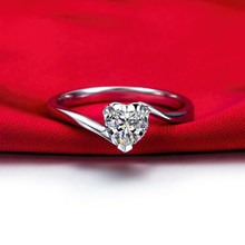 Romantic Silver 925 Ring with Heart-shape 5*5mm Cubic Zirconia Jewelry Rings for Female Wedding Engagement Party Gifts Ornaments(China)