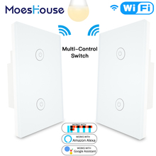 3 Way 2 Gang WiFi Smart Light Switch Multi-Control Work with Alexa Google Home,No Hub Required Smart Life APP Remote Control 3 way 2 gang wifi smart light switch multi control work with alexa google home no hub required smart life app remote control