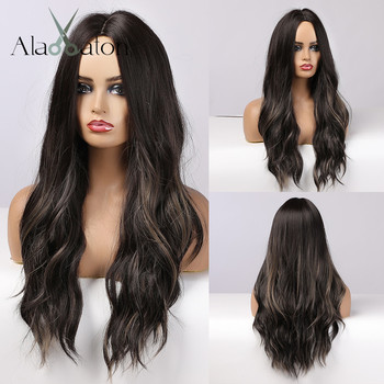 ALAN EATON Mixed Black Brown Long Water Wave Wigs for Women Synthetic Hair High Temperature Fiber Middle Part Cosplay - discount item  40% OFF Synthetic Hair
