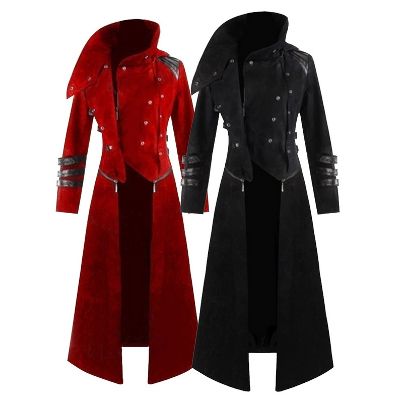 NEW Men Cosplay Costume Party Vintage Royal Style Trench Coats Retro Gothic Steampunk Long Coats  Gentlemen Costume 2020