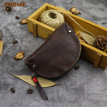 PNDME simple vintage designer genuine leather men's women's small coin purse casual natural real cowhide student cute key case