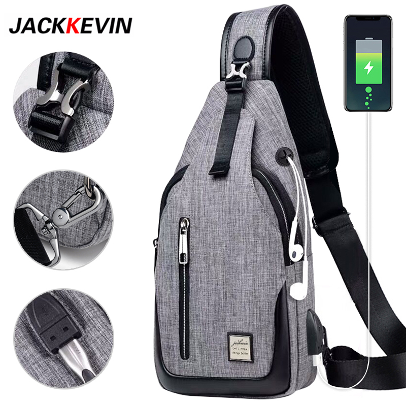 Fashion Male Shoulder Bag USB Charging Crossbody Bags Men Anti Theft Messenger Bags Chest Bag Waterproof Nylon Men Bag Casual