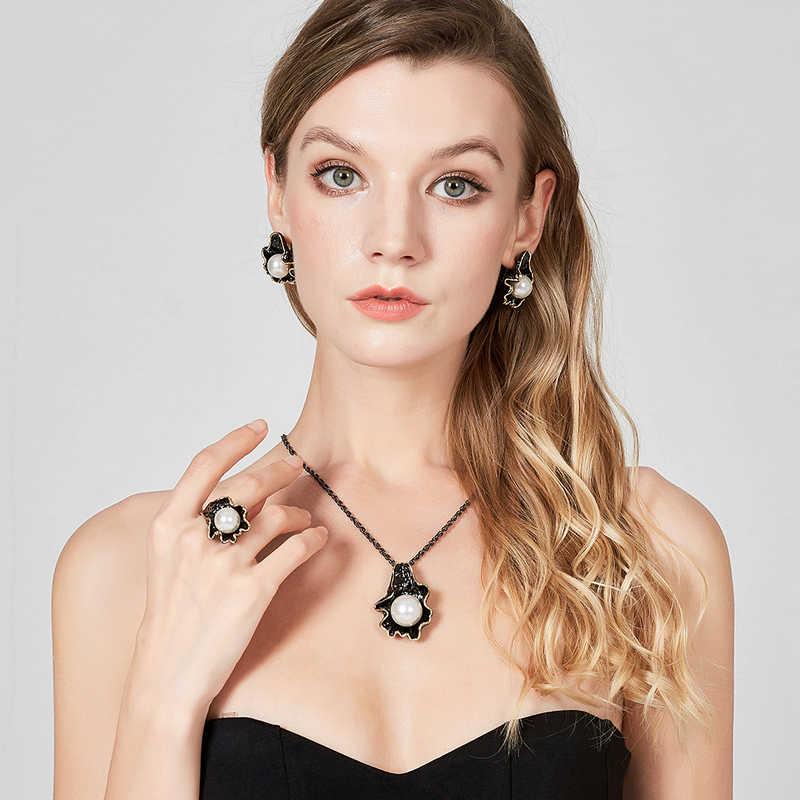 Nandudu grande perle noir pistolet couleur boucles d'oreilles collier bague bijoux ensembles perle feuille conception or fil cadres Vintage Noble bijoux