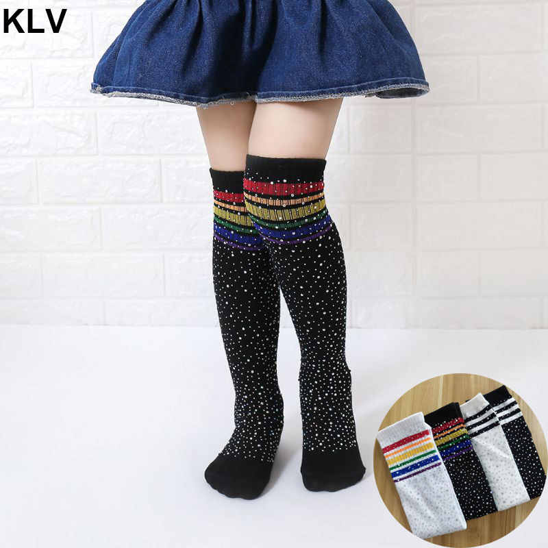 Girls Fashion Knee High Socks Kids Football Stripes Cotton Sports School White Colorful Striped Rhinestone Socks Skate Children