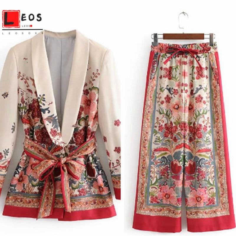 Women Suit Long Sleeve Jacket Vintage Print Wide Leg Pant Suit Set For Lady Blazer Spring Loose Coat Bottoms Elegant New Fashion