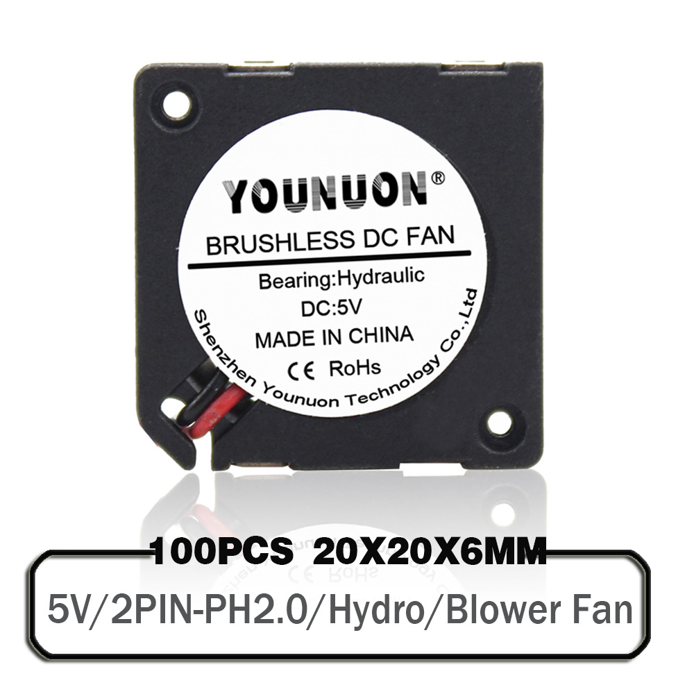 100PCS 2006 5V <font><b>2CM</b></font> 20MM Blower <font><b>Fan</b></font> 20*20*6MM BlowerFan 12000RPM Hydro Ultrathin <font><b>Fan</b></font> Mini Laptop <font><b>Fan</b></font> 2wire image