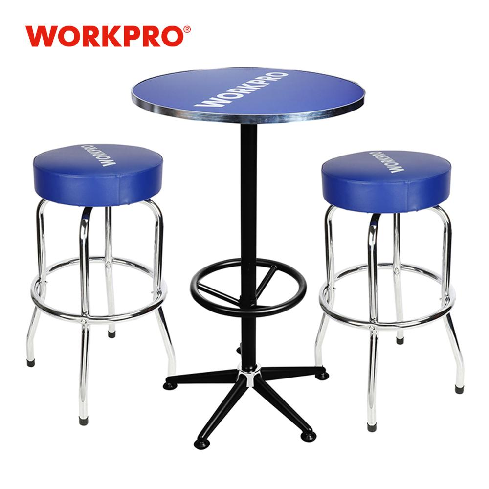 WORKPRO 3PC Bar Stools And Table Set High Quality Home Garage Steel Stools Table