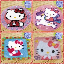 Smyrna Latch Hook Pillow Cute Cat Carpet Embroidery Do-It-Yourself Carpet Cushion Button Package Latch Hook Rug Kits knoopkussen rainbow flower cushion button package smyrna needle for carpet embroidery everything for handmade latch hook rug do it yourself