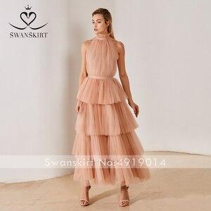 Image 5 - Swanskirt Бохо бальное платье свадебное платье 2020 светильник с открытой спиной Иллюзия Ruched тюль принцесса невесты по индивидуальному заказу Vestido de novia YP01