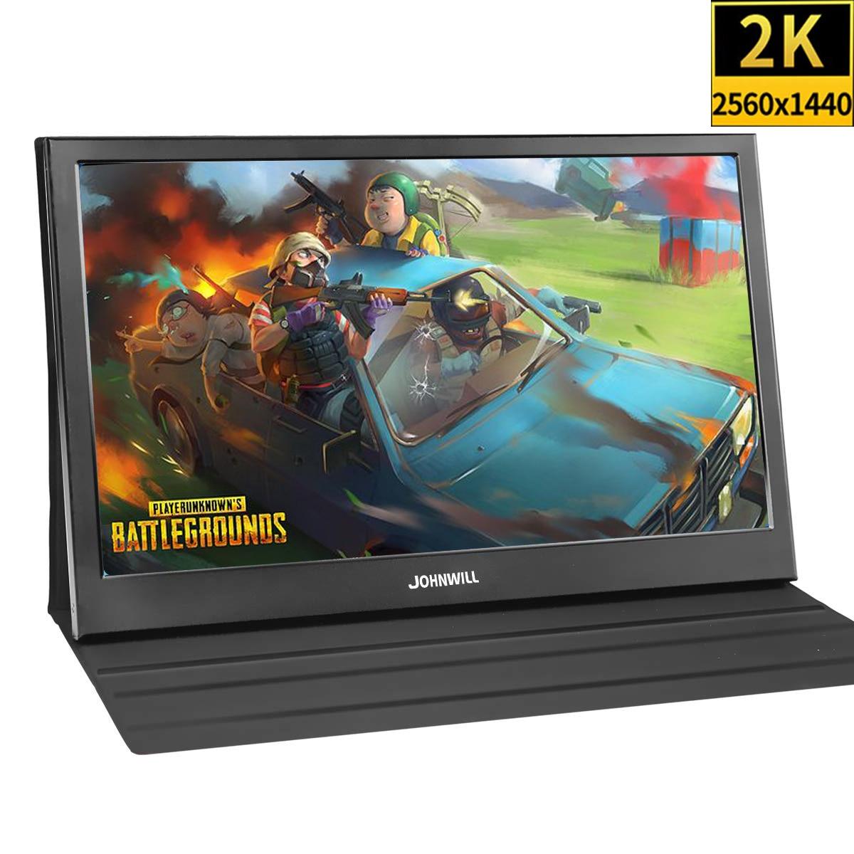 Monitor portátil 2K de 13,3 pulgadas para PS4 Wins 7 8 10 Full HD 2560X1440 IPS pantalla ultrafina + 2 Interfaz HDMI con funda