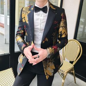 Image 2 - 2019 Blazer Hombre Mens Slim Fit Blazer Jacket Business Affairs Printing Single Mans Suit Loose Coat Chaqueta Hombre Formal
