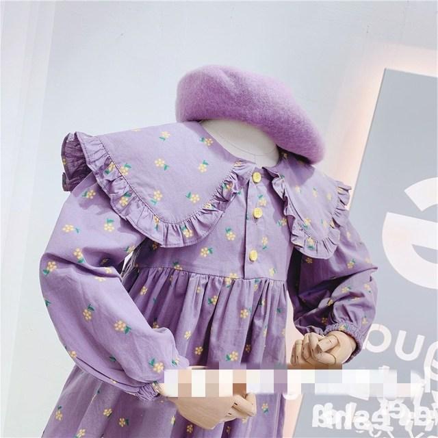 2020 Autumn New Arrival Girls Long Sleeve Princess Dress Kids Cotton Floral Dresses 5