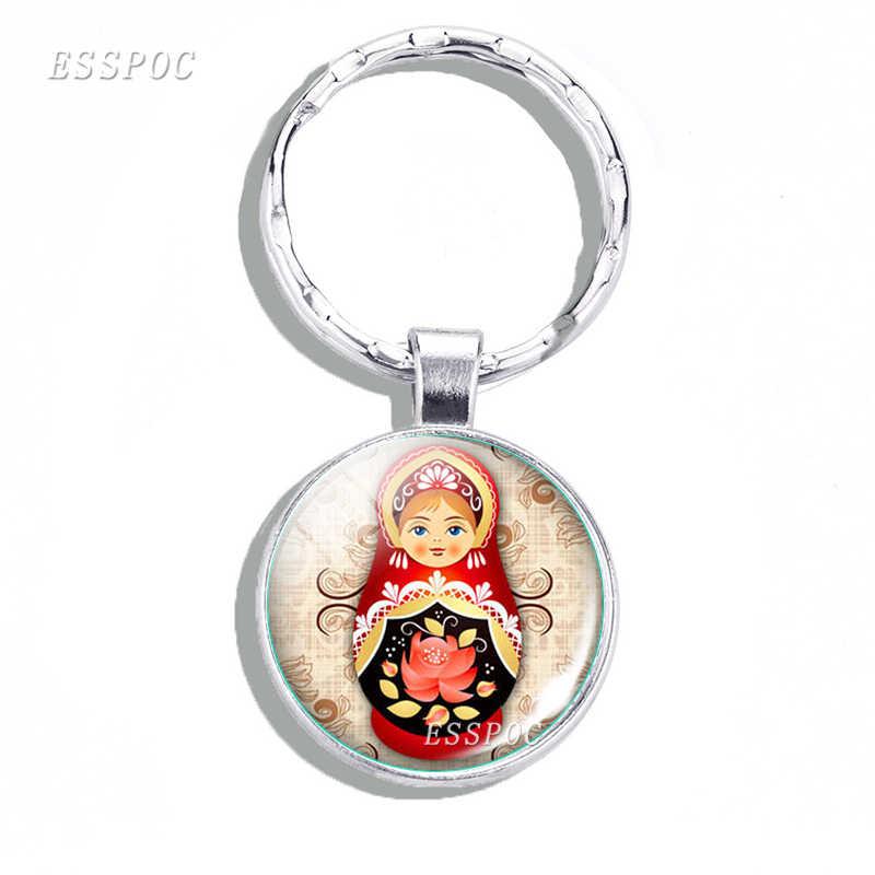伝統ロシア人形金属キーホルダーマトリョーシカ日本人形ガラス宝石アートキーチェーンホルダー民族人形ペンダント