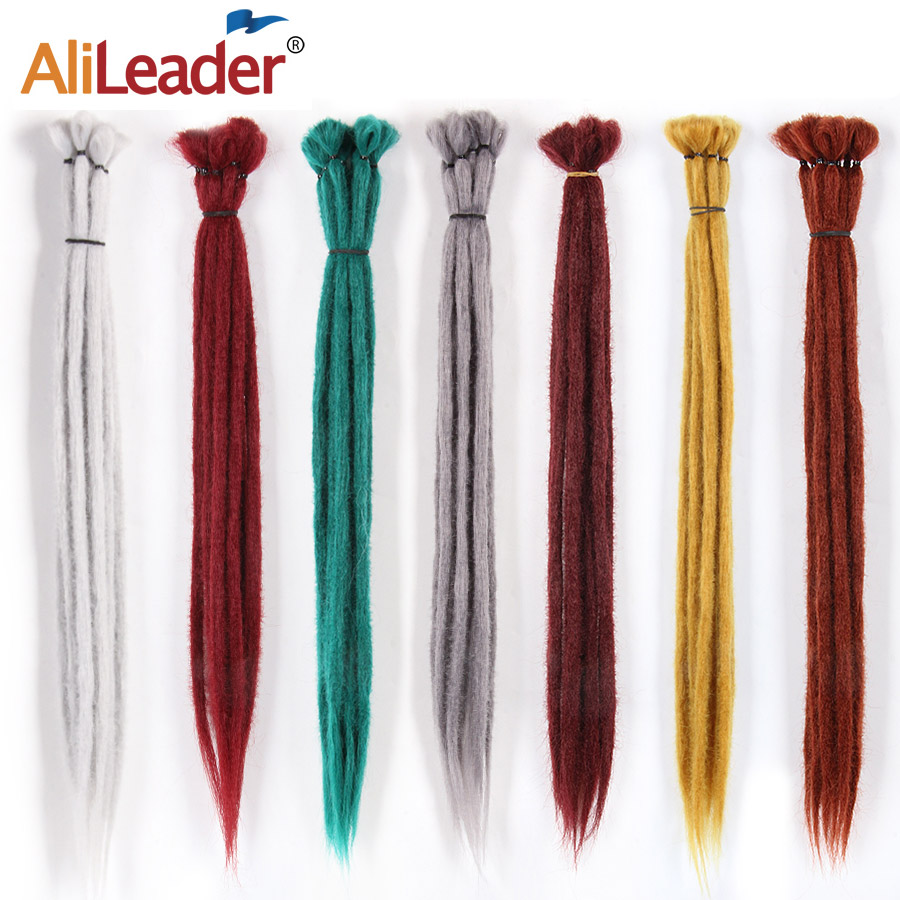 Alileader 1 Strands/Pack Handmade Dreadlocks 20 Inch Black/99J/613 Pure Colors Synthetic Hair Crochet Braid Hair For Women