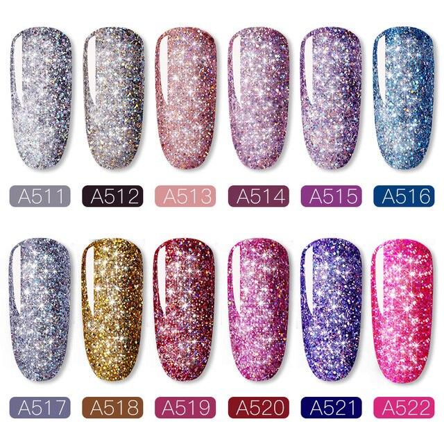 ROSALIND Manicure Set Gel Nail Polish Set 12PCS/LOT Rainbow Shiny Gel Glitter Acrylic Nail Kit Varnish All For Manicure Tools 2
