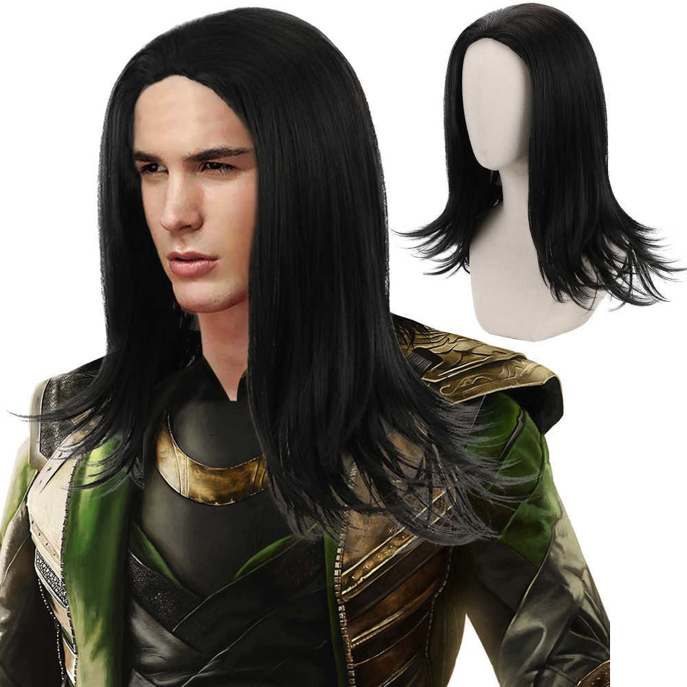 Comic Movie Loki Thor Winter Soldier Zwarte Lange Rechte Cosplay Synthetisch Haar Pruiken voor Mannen Party Kostuum Halloween