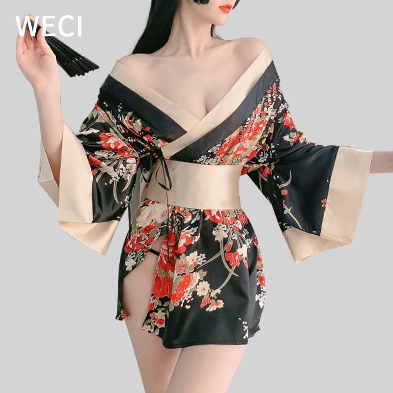 WECI Women's Kimono Sleepwear Silk Pajamas Cosplay Female Japanese Costume Black Red Sexy Lingerie Exotic Night Dress Underwear