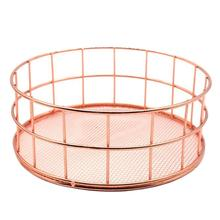 цены на Household Nordic Rose Color Desktop Storage Basket Round Storage Basket Sundries Cosmetic Home Organizer Container  в интернет-магазинах