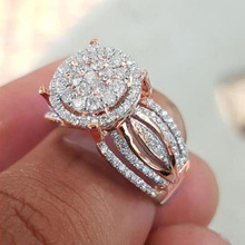 Luxury Women's Crystal Zircon Ring Rose Gold Ring Banquet Engagement Ring Anniversary Jewelry Valentine's Day Gift Birthday Gift exquisite women s rose gold crystal zircon ring lady engagement wedding ring anniversary birthday banquet gift jewelry