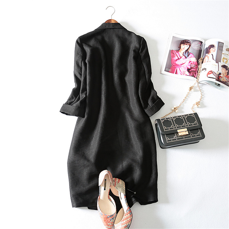 Europe station 2017 New autumn Three Quarter sleeve Long Solid fashion casual Notched collar Pockets women Blazers plus size