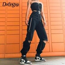 Trousers Pants Lace-Up Streetwear Fashion Patchwork Black High-Waist Women Darlingaga