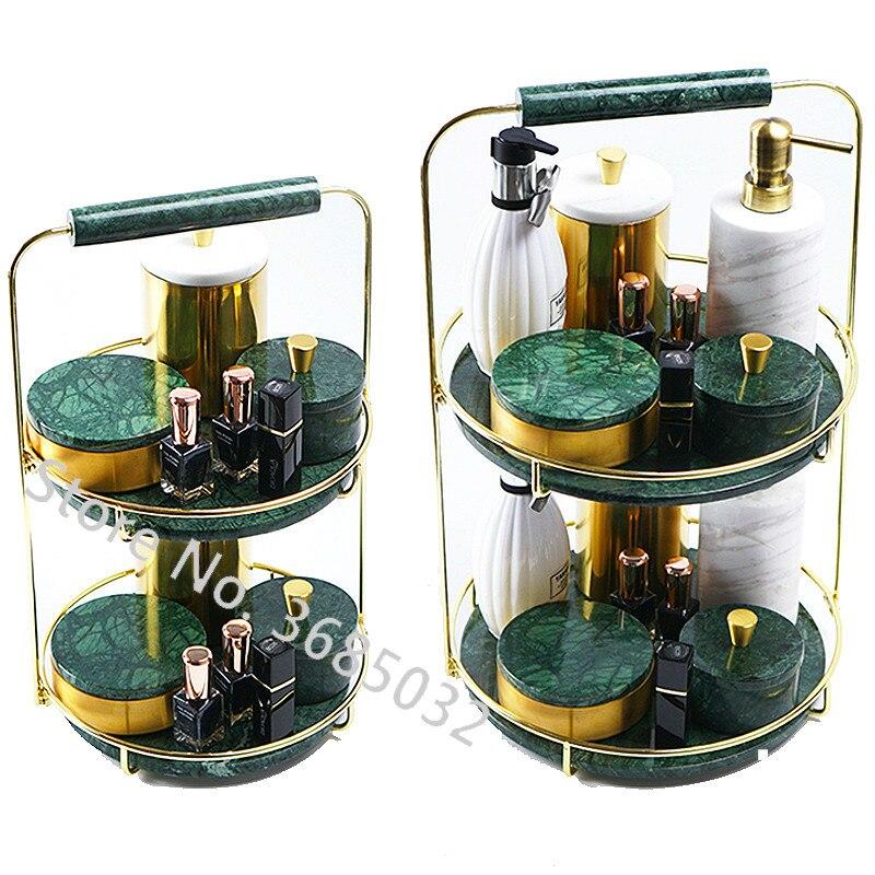 Fashion Multi-layer Rotatable Cosmetic Storage Box Rack Golden Iron Double Jewelry Plate Large Capacity Desktop Storage Rack