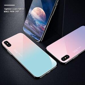 Image 5 - 고급 페인트 강화 유리 케이스 아이폰 11 프로 맥스 x xr xs 8 7 6 6s 우주 별이 빛나는 플라밍고 문 플라워 패턴 소프트 에지