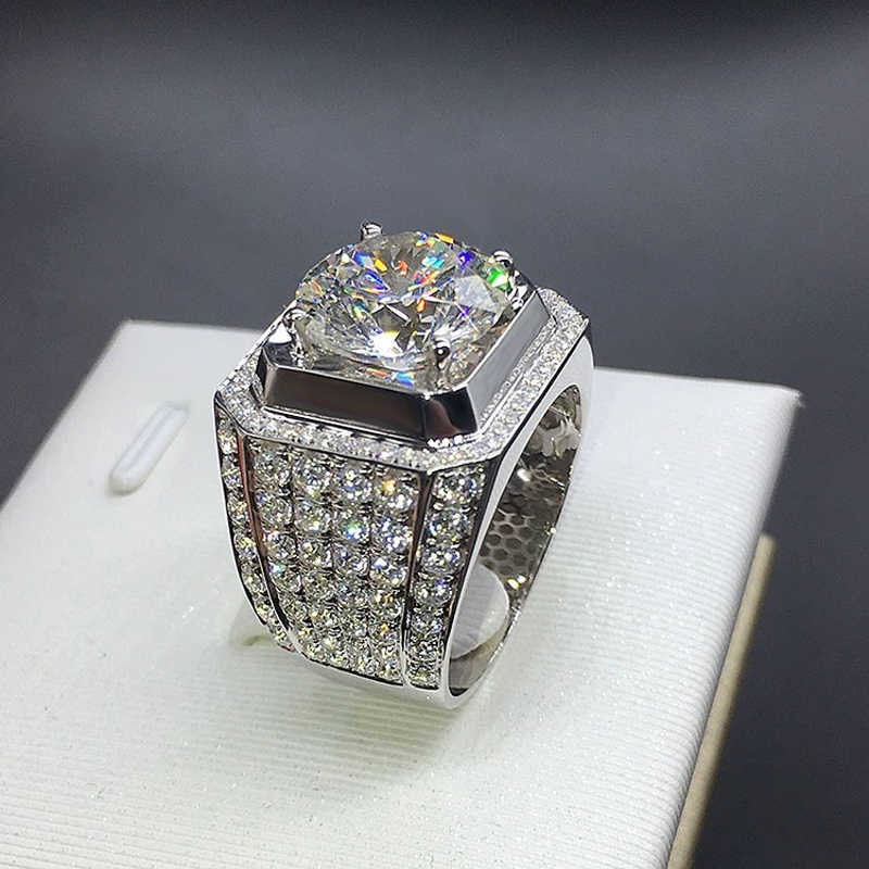 YANHUI หรูหราผู้ชายแหวน 925 เงินสเตอร์ลิง 8mm Zircon Stone แหวนสำหรับ Man Fine หมั้นเครื่องประดับของขวัญ r039