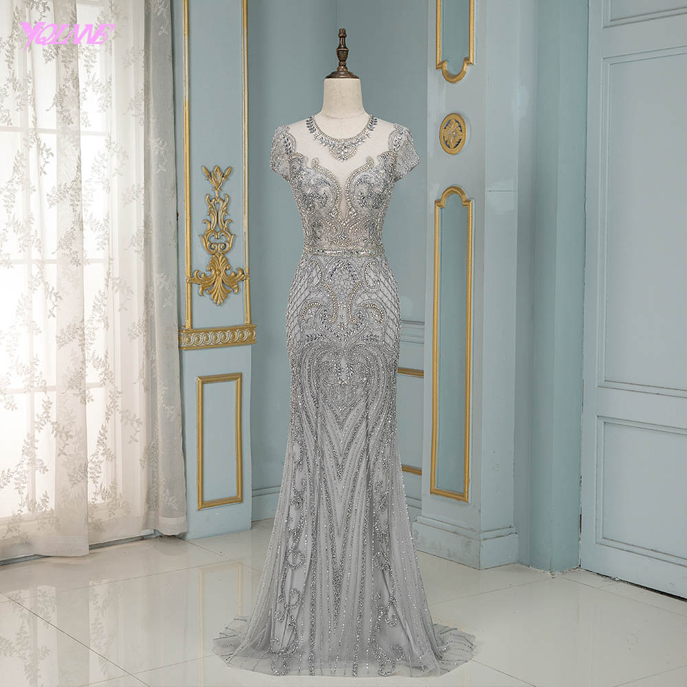 Luxury Silver Rhinestones Cap Sleeve Evening Dresses Long Mermaid Evening Gown Competition Formal Dress Robe De Soiree