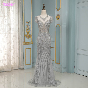 Image 1 - Luxury Silver Rhinestones Cap Sleeve Evening Dresses Long Mermaid Evening Gown Competition Formal Dress Robe De Soiree
