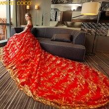 С открытыми плечами корт Красное длинное свадебное платье женское Новое платье невесты Золотое блестящее кружевное платье для беременных Одежда для беременных